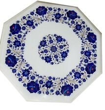 """24"""" marble coffee table top lapis inlay Handicraft marquetry room decor & gifts"""