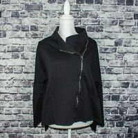 COMFY USA Women's Size zip Moto Sweater Jacket Black Size Medium