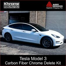 Carbon Fiber Chrome Delete Kit fitting the 2017-2020 Tesla Model 3