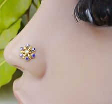 Nose Piercing Brass Stone  Nose Jewelry Crock Screw Nose Pin Indian Nose Ring .