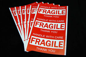 900x Fragile Handle With Care Thank You Adhesive Label 127x76mm Sticker Sheet