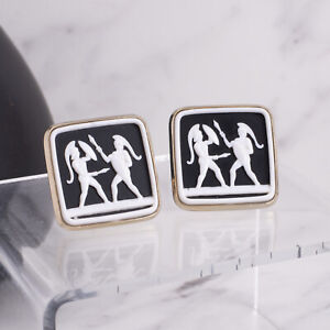 Vintage Black White Resin Cameo Medieval Warriors Square Gold Tone Cuff Links
