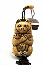 Vintage Bone Welcome Cat Kitty Inro Netsuke Box Hanging Charm Case Storage Pouch