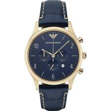 Emporio Armani Classic Watch Gold/Blue Leather Quartz Men's Watch AR1862