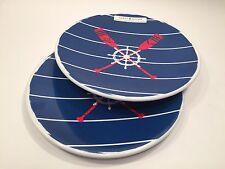 Tommy Hilfiger Melamine Salad Lunch Plate Set of 2 Boat Oars Ships Wheels NEW
