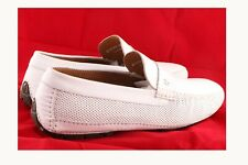 Moreschi Men's Havana White Perforated Lamb skin  Leather Driver Shoes Moccasins