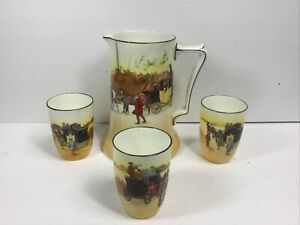 Royal Doulton Coaching Days E3804 Yellow Door Pitcher 3 Cups 1920 Victor Venner