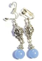 Silver Light Blue Clip On Earrings Glass Bead Antique Vintage Tibetan Style Boho
