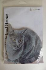 Cat Key Hook Holder Hanger Wooden Wall Mounted SILVER GREY ORIENTAL CAT