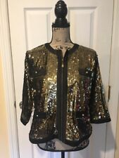 Michael Simon Women's Black & Gold Sequin Shirt Jacket Blazer Blouse Large