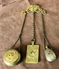 Vintage Antique 3 Pc CHATELAINE: Compact~Aide Memoire~Perfume, Gold Tone Jewels