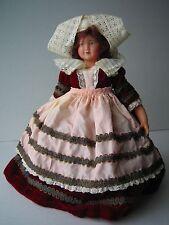Vintage Petitcollin Doll Brittany Lace Velvet Celluloid France Eagle Mark 270