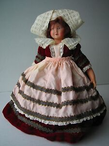 Vintage Petitcollin Doll Brittany Lace Velvet Celluloid France Eagle Mark 270