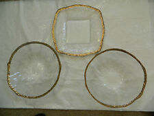 Set Of 3 Large Ice Glass Serving Dishes Golden Edges