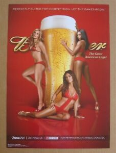 Budweiser Olympic Games Hot Swimsuit Girls beer poster NOS