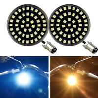"""Eagle Lights Midnight 2"""" Harley Front LED Turn Signals with White Running Light"""