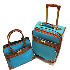 Samantha Brown Set of 2 travel luggage in fabric with croc accents