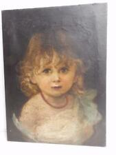 really old PAINTING oil PORTRAIT INFANT GIRL
