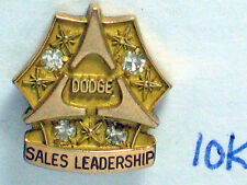 Dodge Bros Sales Leadership Employee Award Pin Rare 4 Diamond 10K gold, (#017**)