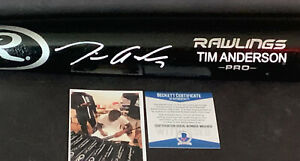 Tim Anderson White Sox Autographed Signed Engraved Bat Beckett Wit COA Black .