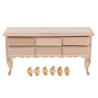 Unpainted 1/12 Dollhouse Miniature Furniture Wood Drawers Table Model Decor
