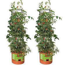 Hydrofarm Tomato Barrel Pot Garden Planters w/ 4 Foot Trellis Tower, Pair | GCTB