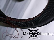 FOR PEUGEOT 505 PERFORATED LEATHER STEERING WHEEL COVER DARK RED DOUBLE STITCH
