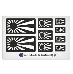 9X Japan rising sun flags Black & White Laminated Decals Stickers JDM