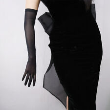 Tulle Long Gloves Stretchy Lace Nylon Semi Sheer TECH Touchscreen Black Crystal