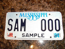 MISSISSIPPI SAMPLE LICENSE PLATE SAMPLE