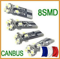 2 Ampoules ultra puissantes ANTI ERREUR ODB 8 LED T10 culot  W5W SMD Blanc Xenon