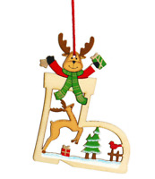 Wooden Christmas Tree Decoration Boot Shape Reindeer Head Xmas Hanging Ornaments