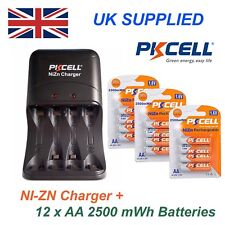 NI-ZN 12 x 1.6V AA 2500 mwh High performance Recharable Batteries & Charger Pack