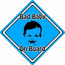 Bad Baby/Child On Board Car Sign ~ Baby Face Silhouette ~ Neon Blue