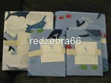 Pottery Barn Kids Shark Bite Full Duvet Shams Sheet Set 7-pc National Geographic