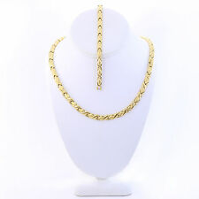 "Hugs & Kisses Necklace Bracelet Set Stampato Stainless Steel Gold Plated 18"" XOX"