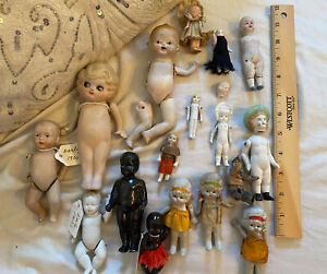 Large Lot Of Antique Vintage Dolls German Japanese Celluloid Bisque Free Ship!!!