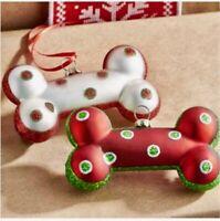"Raz Imports 4.25"" DOG BONE CHRISTMAS Ornament Tree Decor 3924585 BOW WOW!"
