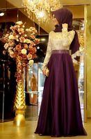Elegant Beaded Long Sleeve Muslim Prom Dress Formal Pageant Party Evening Dress
