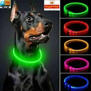 USB Rechargeable PVC LED Dog Pet Collar Flashing Size Adjustable Safety Light Up