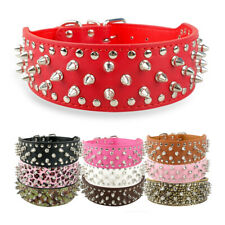 """2"""" Wide Spiked Studded Dog Collar PU Leather Small Medium Large Pitbull 8 Colors"""