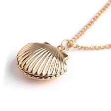 Women Gold Plated Shell Locket Necklace Beach Locket Gold Tone Brass Jewelry New
