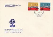Liechtenstein BUSTA PRIMO GIORNO solo tag lettera 1960 mondo rifugiato anno mi.369+70
