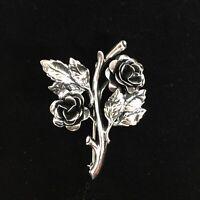 Vintage Danecraft Sterling Silver Rose Flower Brooch Luster Figural Pin Blossom