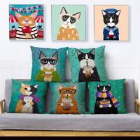 Cartoon Cats Linen Pillow Case Sofa Cushion Cover Throw Home Decor Gift Charm