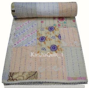 Handmade Cotton Vintage Patchwork Single Kantha Quilt Indien Bedspread