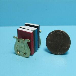 Dollhouse Miniature Lyre Harp House Bookends Includes 4 Books with Pages ISL5510