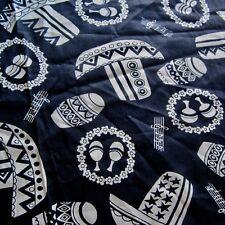 63cm x 90cm Vintage cotton fabric 1960s Dark Blue Tex Mex Novelty Hats Drums Sew