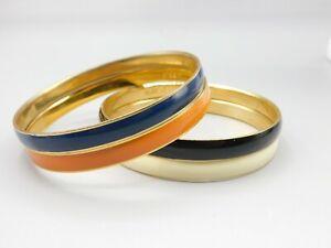 Lot of 4 J. CREW Enamel Bangle Bracelets Black White Blue Orange Gold Tone