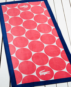 NWT Lacoste Logo Beach Pool Towel Coral Navy Dots 36 x 72 100% Cotton NEW